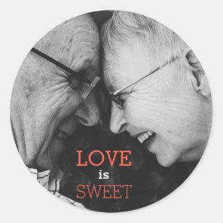 Love is Sweet, An elderly couple in Love Classic Round Sticker