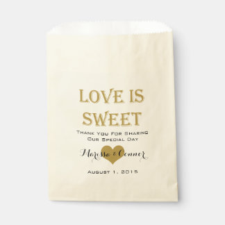Love Is Sweet Black and Gold Wedding Bags Favour Bags