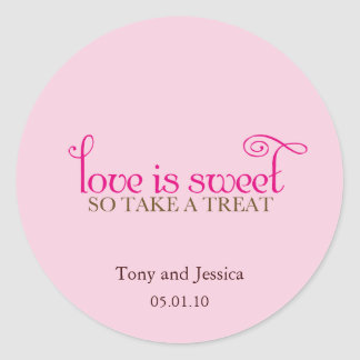 love is sweet classic round sticker