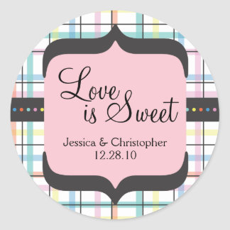 Love is Sweet - Colorful Plaid Round Sticker