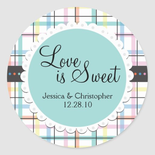Love is Sweet - Colorful Plaid Round Stickers