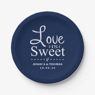 Love Is Sweet! Custom Navy Blue Wedding 7 Inch Paper Plate