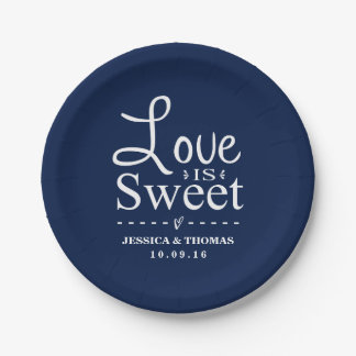 Love Is Sweet! Custom Navy Blue Wedding Paper Plate
