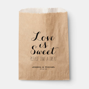 Love is sweet custom wedding candy buffet favour favour bag