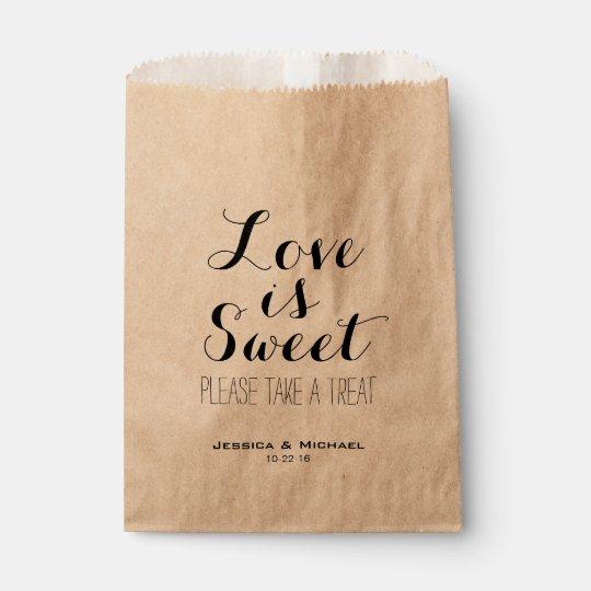 16 X 12 Custom Printed Kraft Paper Wedding Gift Bags: Love Is Sweet Custom Wedding Candy Buffet Favour Favour