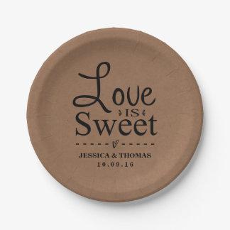 Love Is Sweet! Custom Wedding Paper Plates 7 Inch Paper Plate