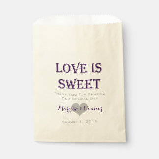 Love Is Sweet Dark Purple Wedding Bags