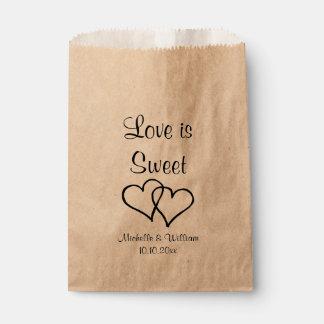 Love is sweet double heart kraft wedding party favour bag