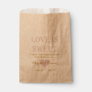 Love Is Sweet Gold and Blush Wedding Bags Favour Bags