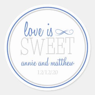 Love Is Sweet Labels (Blue / Silver) Round Sticker