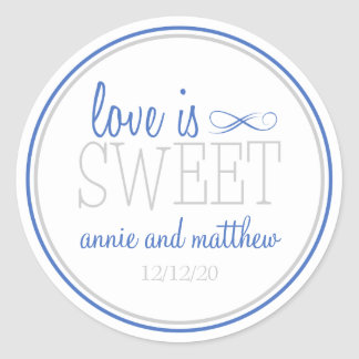 Love Is Sweet Labels (Blue / Silver) Classic Round Sticker