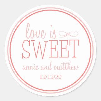 Love Is Sweet Labels (Blush / Terra Cota) Round Sticker