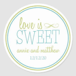 Love Is Sweet Labels (Chartreuse / Teal) Round Sticker
