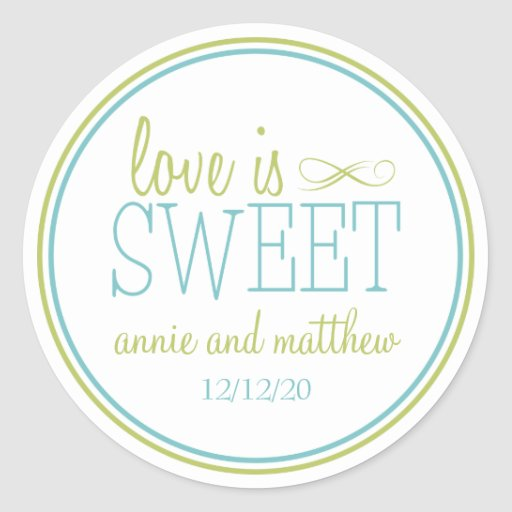 Love Is Sweet Labels (Chartreuse / Teal) Stickers