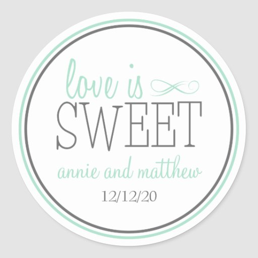 Love Is Sweet Labels (Green / Gray) Stickers