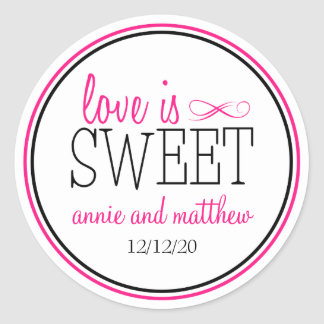 Love Is Sweet Labels Hot Pink Black Round Stickers