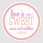 Love Is Sweet Labels (Hot Pink / Orange) Round Stickers