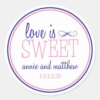 Love Is Sweet Labels Navy Blue Pink Round Sticker