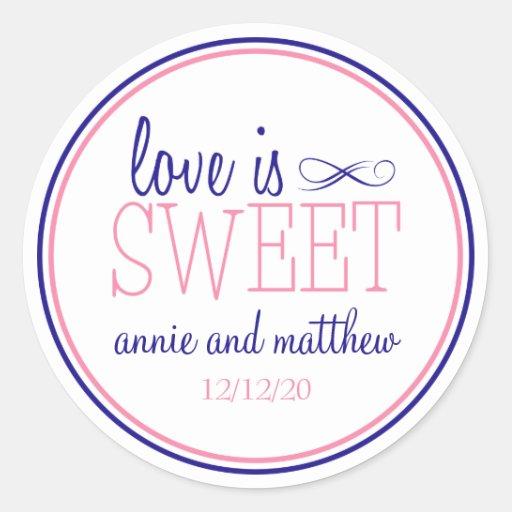 Love Is Sweet Labels (Navy Blue / Pink) Round Sticker