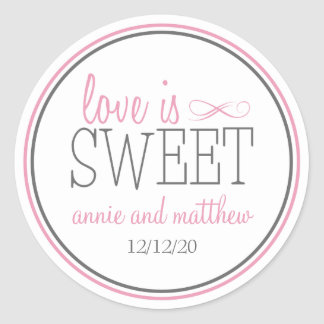 Love Is Sweet Labels (Pink / Gray) Classic Round Sticker