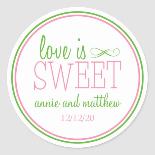 Love Is Sweet Labels (Pink / Mint Green) Round Stickers