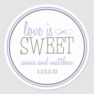 Love Is Sweet Labels (Purple / Gray) Round Sticker