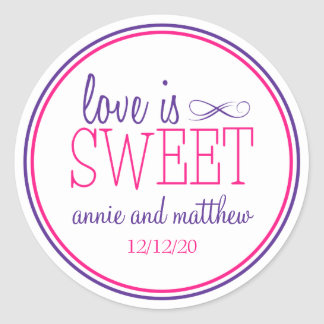 Love Is Sweet Labels (Purple / Magenta) Round Sticker