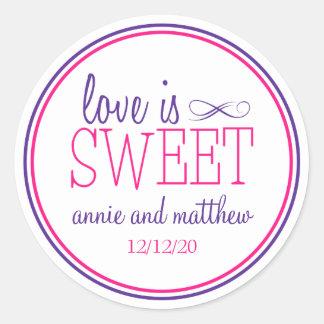 Love Is Sweet Labels Purple Magenta Round Stickers