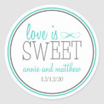 Love Is Sweet Labels (Teal / Grey) Round Sticker