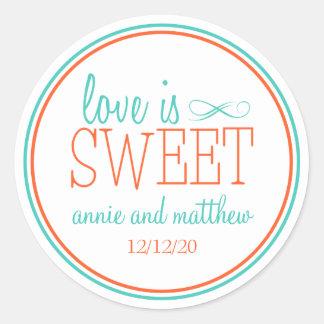 Love Is Sweet Labels (Teal / Orange) Round Sticker