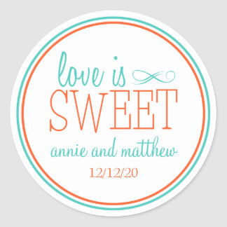 Love Is Sweet Labels Teal Orange Round Stickers