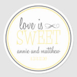 Love Is Sweet Labels (Yellow / Grey) Stickers