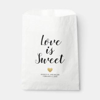 Love is Sweet Modern Gold Heart Favor Bag