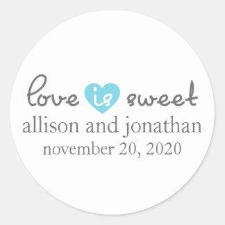 Love Is Sweet Modern Heart Labels (Gray / Blue) Round Sticker