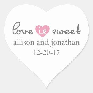 Love Is Sweet Modern Heart Labels (Gray / Pink) Heart Sticker