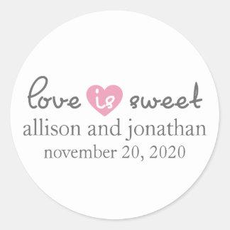 Love Is Sweet Modern Heart Labels (Gray / Pink) Round Sticker