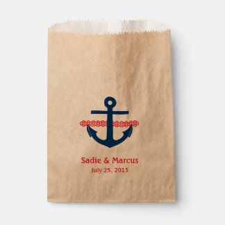 Love Is Sweet Nautical Anchor & Rope in Red Favour Bag