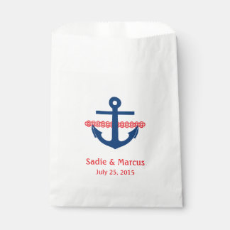 Love Is Sweet Nautical Anchor & Rope in Red Favour Bags