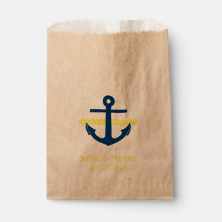 Love Is Sweet Nautical Anchor & Rope in Yellow Favour Bags