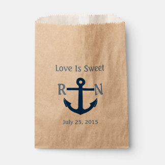 Love Is Sweet Nautical Anchor Wedding Navy Blue Favour Bags
