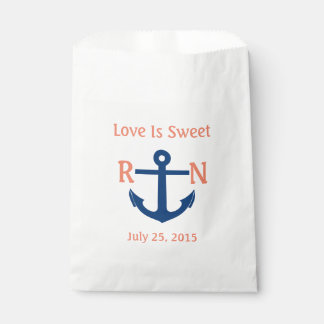 Love Is Sweet Nautical Anchor Wedding Navy & Coral Favour Bags