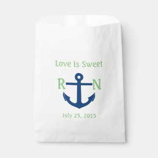 Love Is Sweet Nautical Anchor Wedding Navy & Green Favour Bags