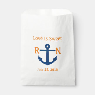 Love Is Sweet Nautical Anchor Wedding Navy Orange Favour Bag