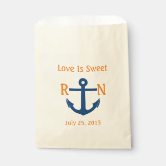 Love Is Sweet Nautical Anchor Wedding Navy Orange Favour Bags