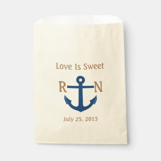 Love Is Sweet Nautical Anchor Wedding Navy & Tan Favour Bags