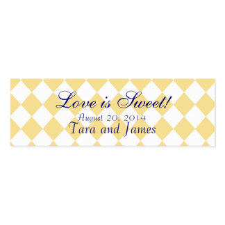 Love is Sweet Navy Yellow Wedding Favour Tag Cards Double-Sided Mini Business Cards (Pack Of 20)