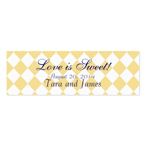 Love is Sweet Navy Yellow Wedding Favour Tag Cards Business Cards