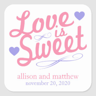 Love Is Sweet Old Fashioined Label (Pink / Violet) Square Sticker