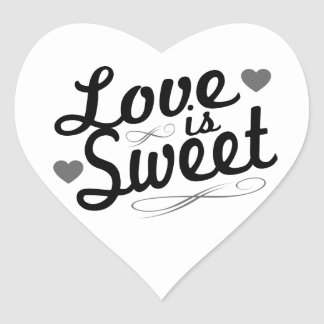 Love Is Sweet Old Fashioined Labels (Black / Gray) Heart Sticker