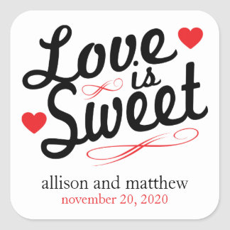 Love Is Sweet Old Fashioined Labels (Black / Red) Square Sticker
